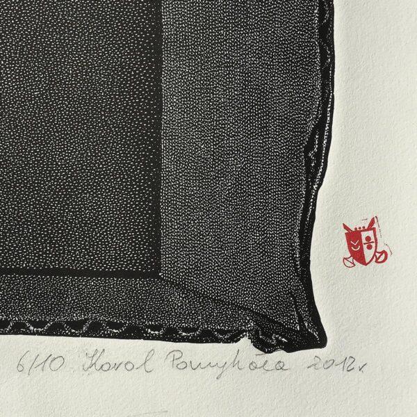 pieczątka na papierze przy linorycie autor Karol Pomykała