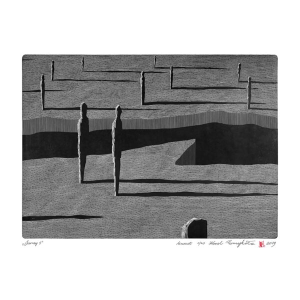 dotted linocut on paper with the artist's signature