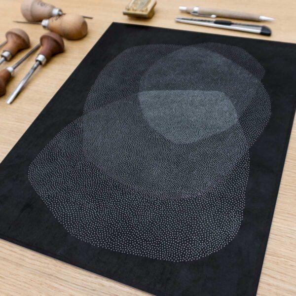 point linocut printmaking hand print
