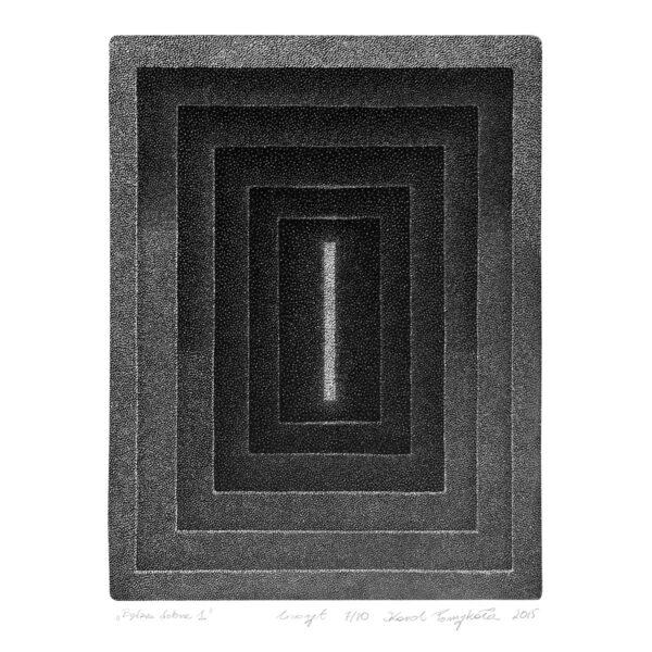 grafika w technice linorytu na papierze podpisana przez artystę